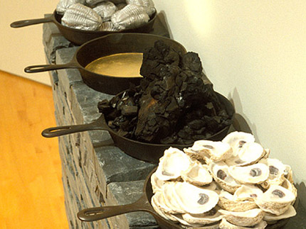 Hearth (Slate, cast iron pans, shells, fossils, coal, gold leaf)